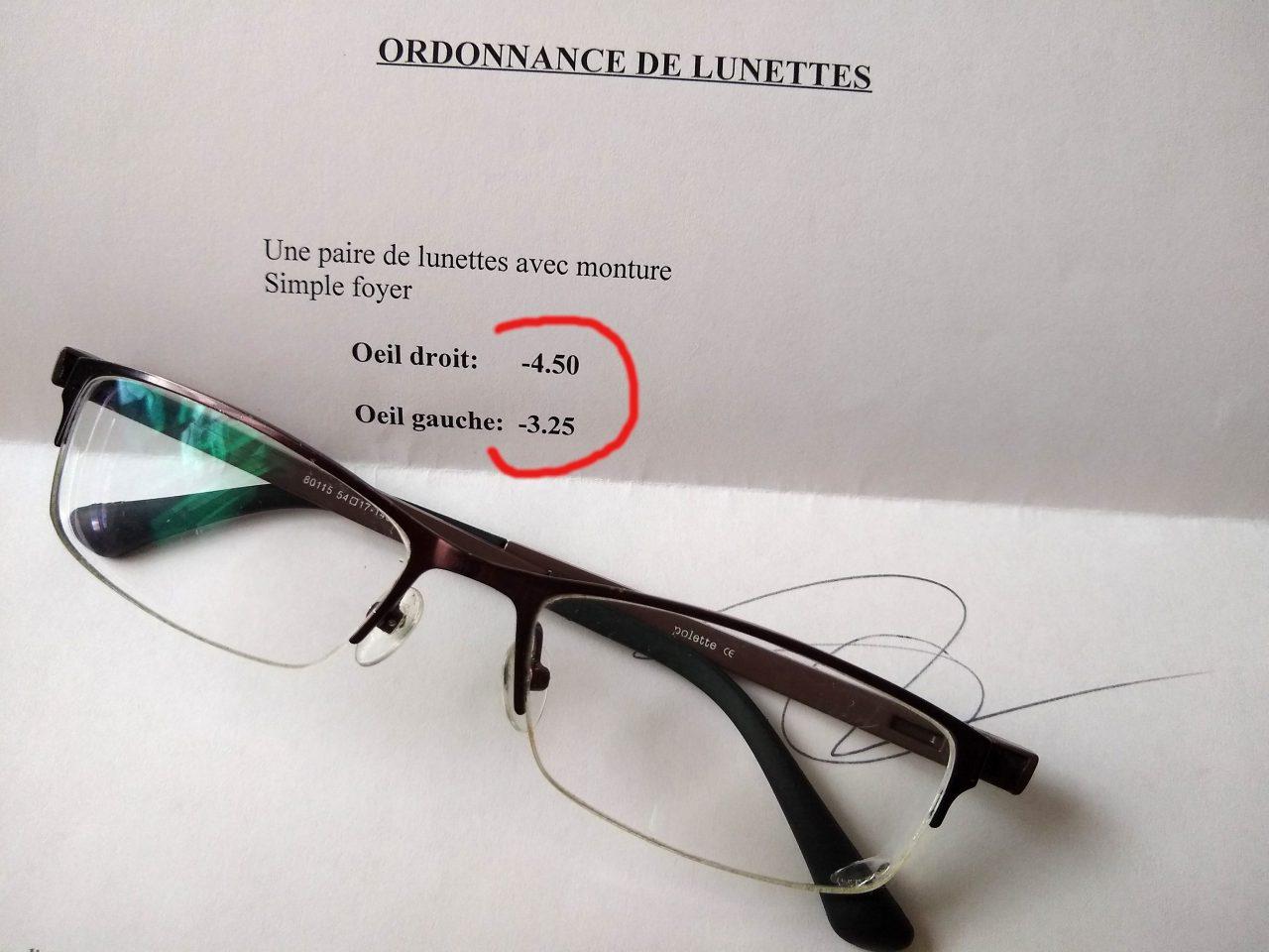 ordonnance lunettes